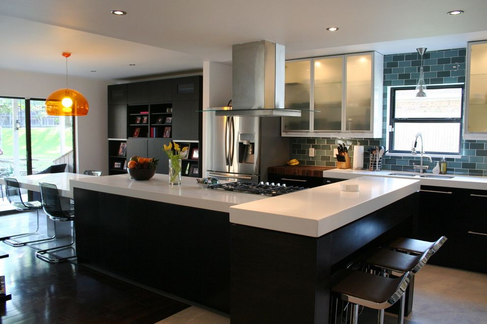 Quartz Countertops Indianapolis with Contemporary Kitchen Also Acrylic Cabinets Ceasarstone Concrete Floors Espresso Glass Tiles Island Long Island Quartz Subway Tiles White White Countertops