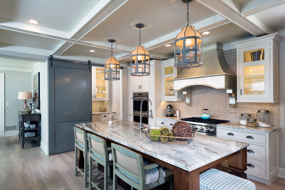 Quartzite vs Granite with Traditional Kitchen Also Barn Doors Coffered Ceiling Counter Stools Lights Over Island Pendant Lights Vent Hood