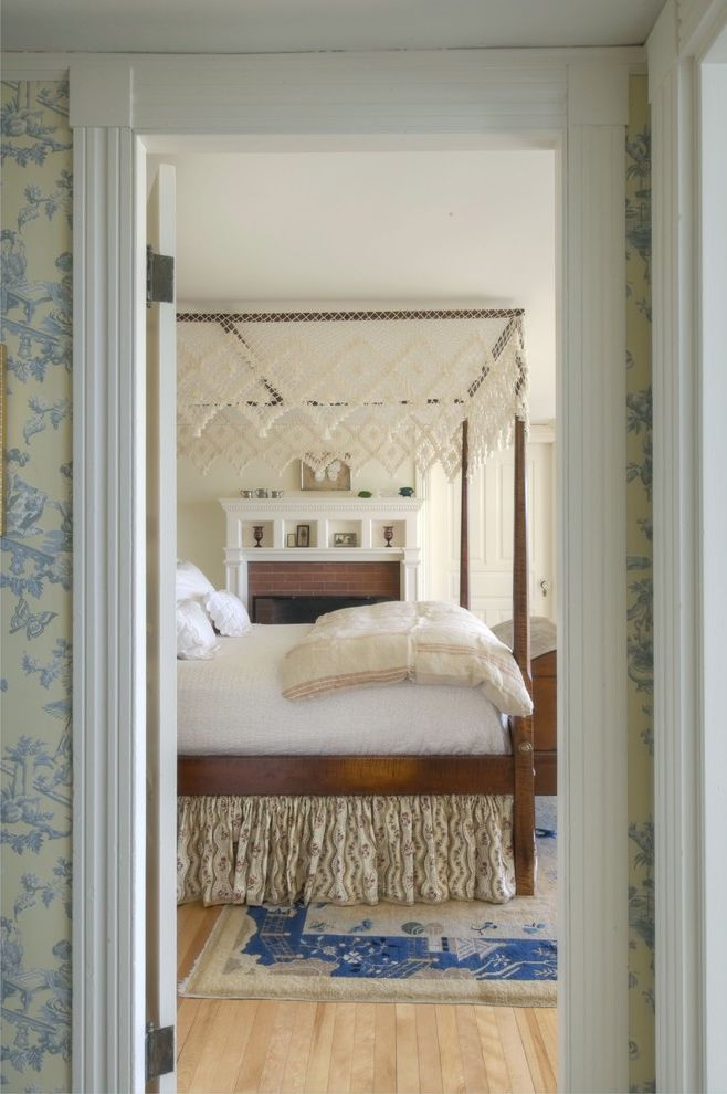 Queen Size Dust Ruffle   Traditional Bedroom Also Bed Cottage Farmhouse Four Poster Bed Romantic Wallpaper Wood Floor