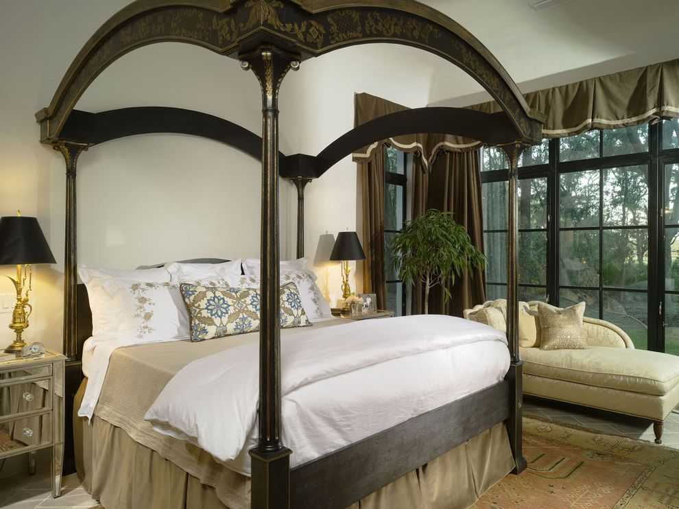 Queen Size Dust Ruffle with Mediterranean Bedroom Also Area Rug Bedside Table Bedskirt Canopy Beds Chaise Lounge Curtains Drapes Dust Ruffle Mirrored Furniture Nightstand Valance Window Treatment