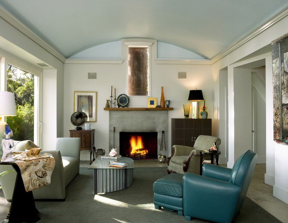 Quonset Hut for Sale   Contemporary Living Room  and Blue Leather Chair Donghia Sofa Fireplace Grange Chair Modern Fireplace