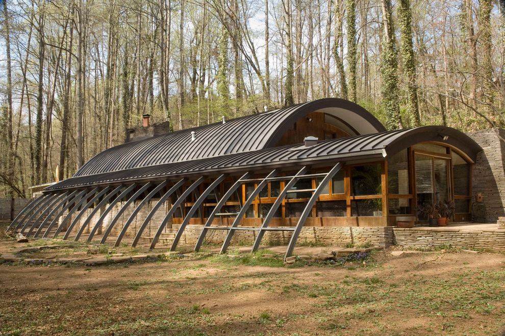 Quonset Hut for Sale   Eclectic Exterior  and Curved Roofline Early Green Design Metal Roof Quonset Hut Standing Seam Roof Unusual Exterior