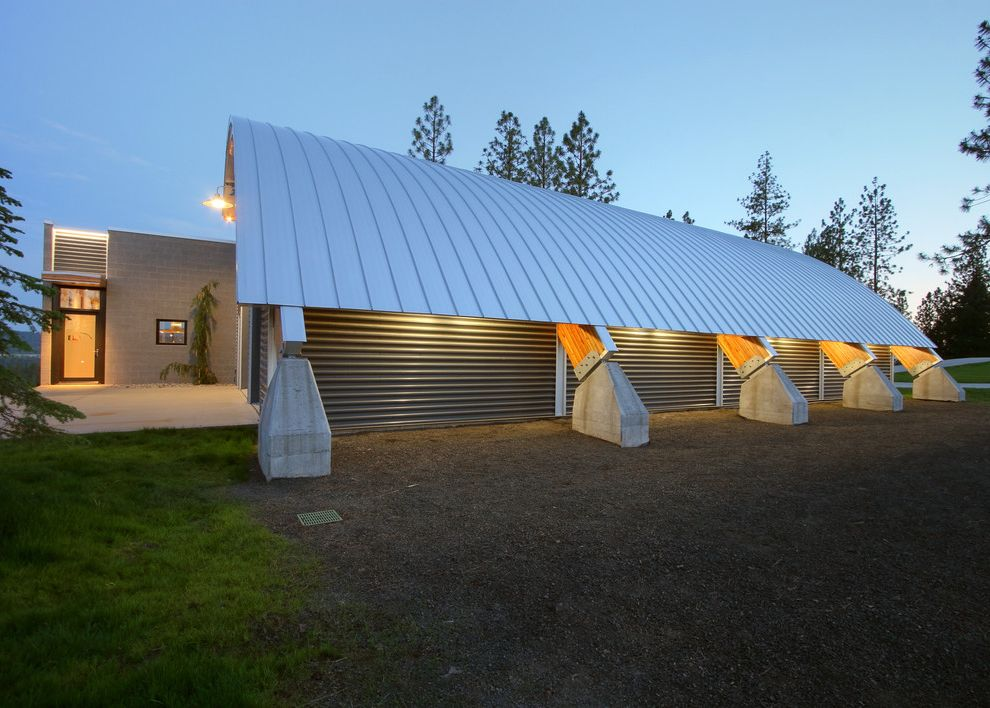 Quonset Hut Kits   Contemporary Exterior  and Curved Roof Entrance Entry Exposed Beams Metal Roof Quonset Hut Roof Line Standing Seam Roof