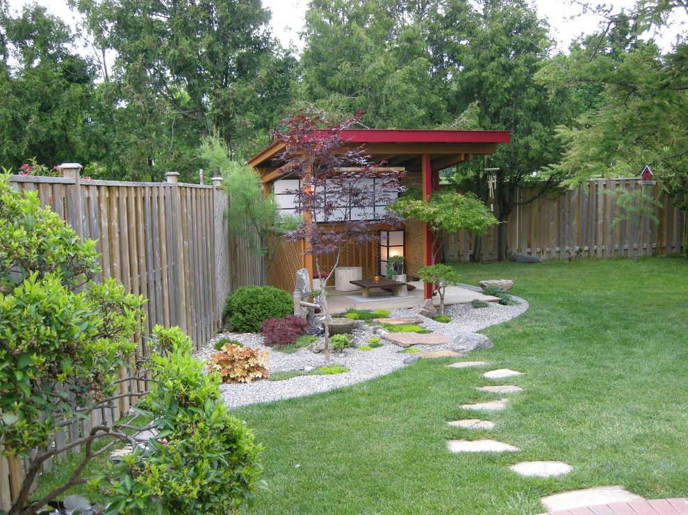 Quonset Hut Kits with Asian Landscape Also Asian Garden Garden Fence Grass Gravel Japanese Lawn Moss Path Pavers Pavilion Shed Turf Wood Fence Zen Garden