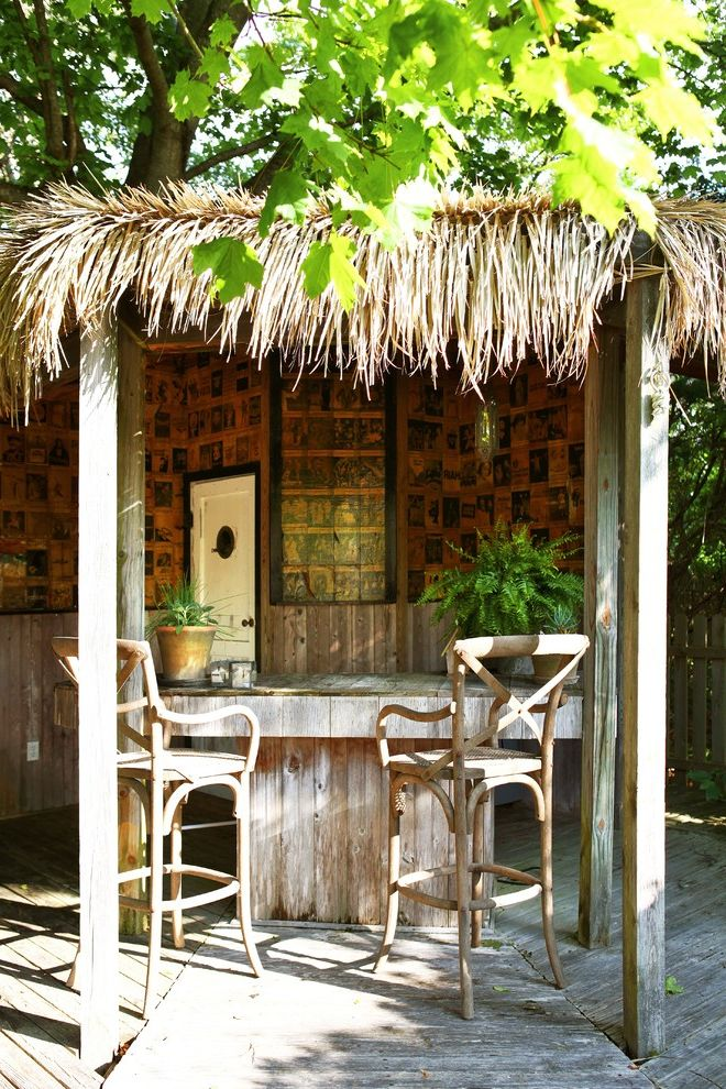 Quonset Hut Kits with Tropical Deck  and Bar Barstools Deck Exterior Patio Furniture Screens Stools Thatched Roof Tiki Bar