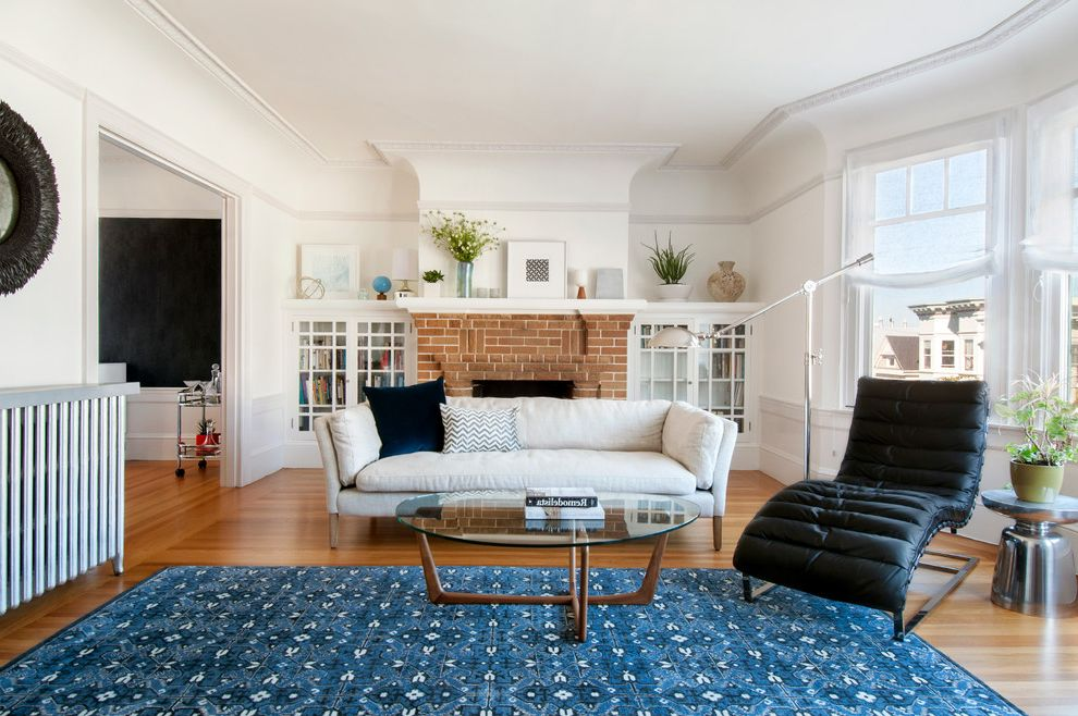 Ralph Lauren Rugs Home Goods with Transitional Living Room Also Bay Window Black Chair Blue Area Rug Brick Foreplace Coved Ceiling Curved Bay Window Heater White Couch