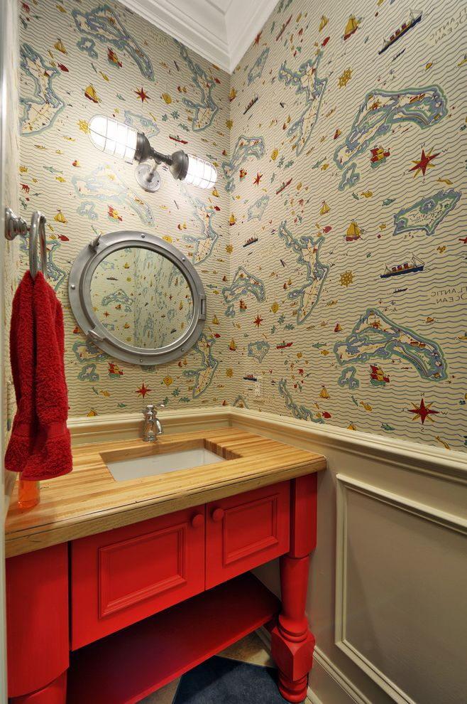Ralph Pucci Lighting   Beach Style Powder Room  and Blue and Red Boat Window Mirror Marine Light Mirror Nautical Porthole Red Vanity Wainscoting Wall Frame Wallpaper Wood Counter
