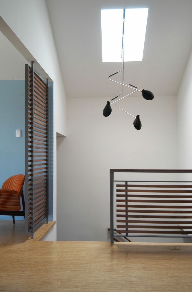 Ralph Pucci Lighting   Contemporary Entry  and Bamboo Flooring Blue Wall Gray Stair Rail Horizontal Balustrade Mobile Privacy Screen Ralph Pucci Lighting Skylight Slats Sliding Door Stairwell Railing