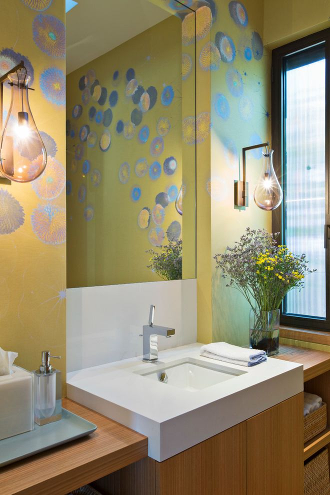 Ralph Pucci Lighting   Contemporary Powder Room Also Custom Bathroom Graphic Wallpaper Trove Wallpaper Wall Sconces Window