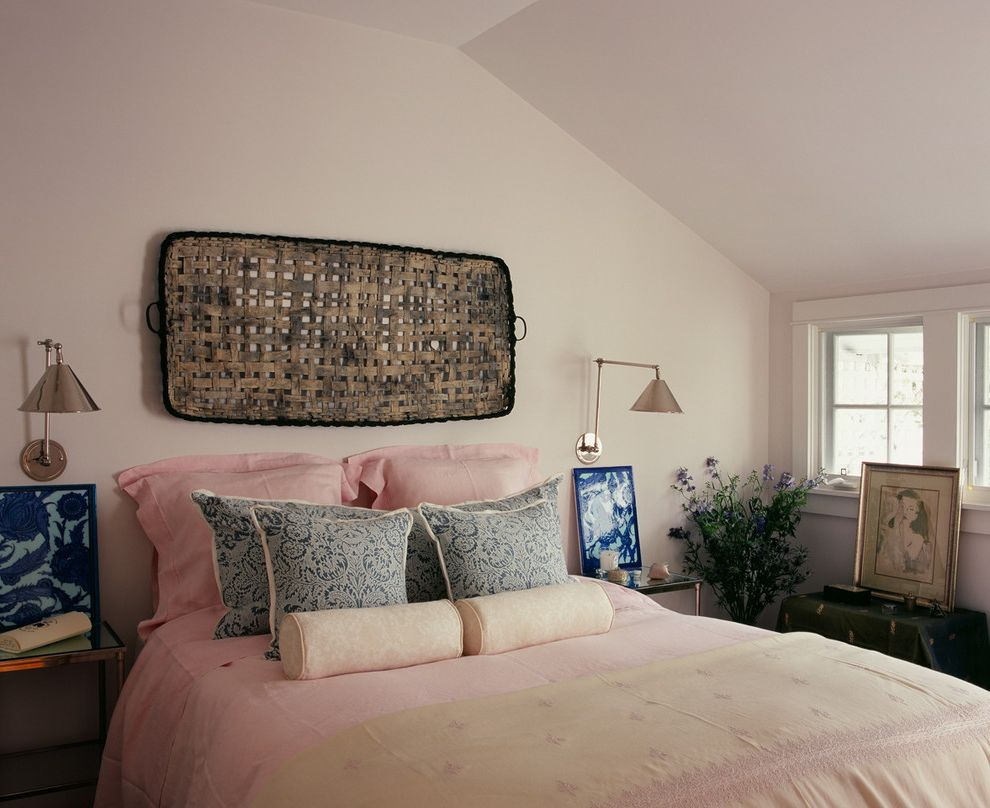 Ralph Pucci Lighting with Shabby Chic Style Bedroom  and Attic Bed Pillows Bedside Table Decorative Pillows Nightstand Painted Ceiling Pink Bedding Pink Walls Reading Lamp Sloped Ceiling Swing Arm Lamp Throw Pillows Vaulted Ceiling Wall Art Wall Decor