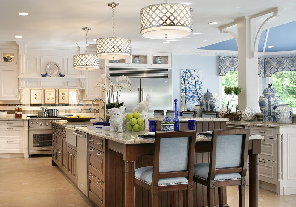 Ralph Pucci Lighting with Traditional Kitchen  and Blue Accents Blue Ceiling Large Kitchen Island Pendant Lighting Recessed Lighting Traditional White White and Stain Cabinetry