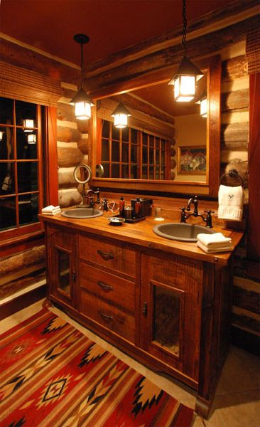 Rampart Supply with Rustic Spaces Also Bathroom Bridge Faucet Copper Sink Log Cabin Rustic Vanity