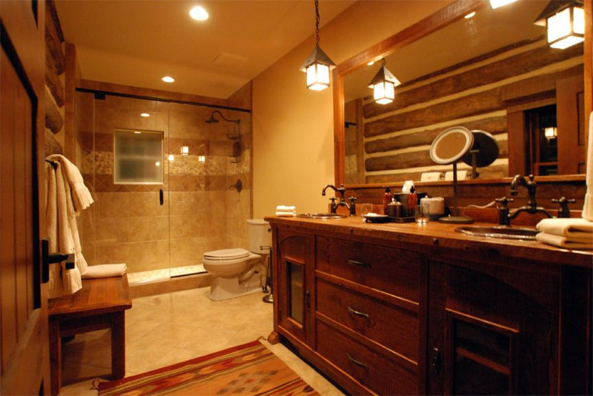 Rampart Supply with Rustic Spaces  and Bathroom Bridge Faucet Copper Sink Log Cabin Rustic Vanity