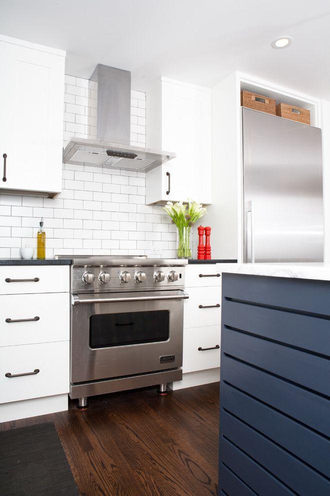 Range Hood Ducting   Midcentury Kitchen  and Hood Island Marble Stainless Steel Subway Tile Tile Backsplash White Flush Cabinets Wood Floor