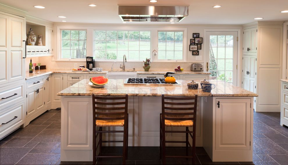 Range Hoods at Lowes   Farmhouse Kitchen  and Built in Hutch Builti in Book Shelf French Door Granite Island Seating Island Stove Kitchen Island White Wood Cabinets Windows Wolf Stove