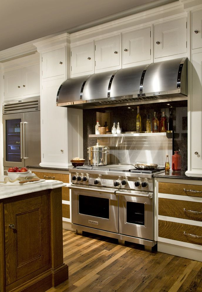 Range Hoods at Lowes with Traditional Kitchen  and Black Hood Kitchen Island Marble Salvaged Wood Stainless Steel Appliances Stainless Steel Backsplash White White Painted Cabinets Wood Floor
