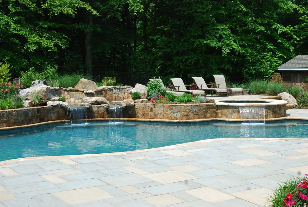 Rani Spa Fairfax   Eclectic Pool  and Concrete Paver Pool Deck Freefom Pool Pool with Water Feature Swimming Pool with Spa