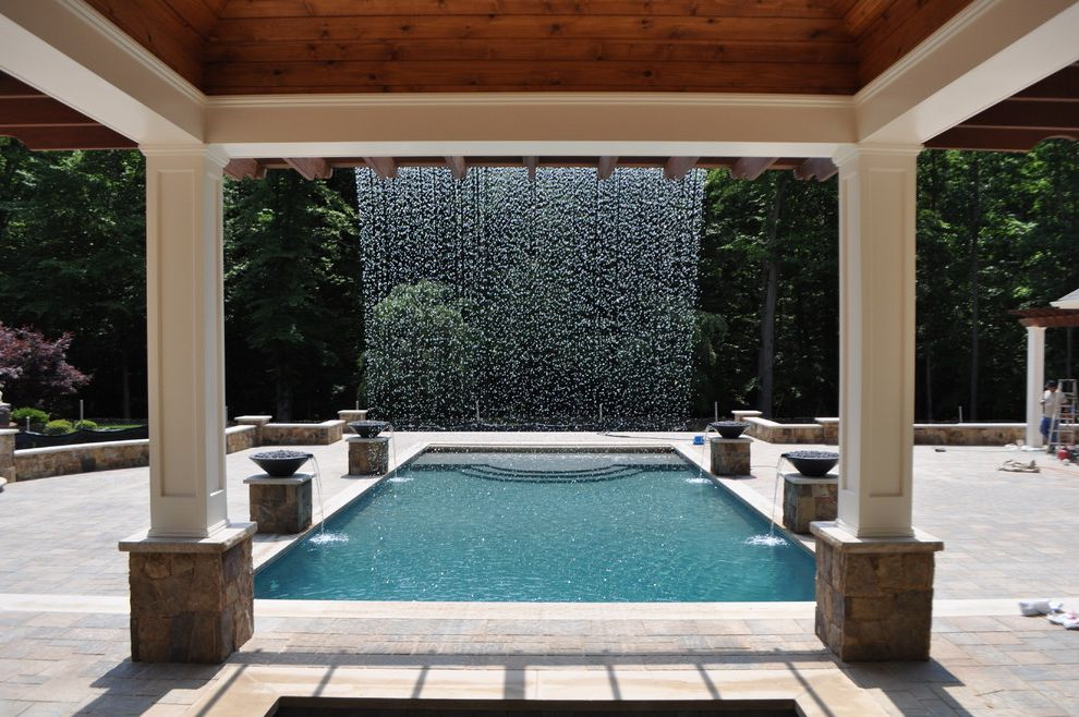 Rani Spa Fairfax   Traditional Pool Also Ipe Pavilion Rain Curtain Water Feature Swimming Pool