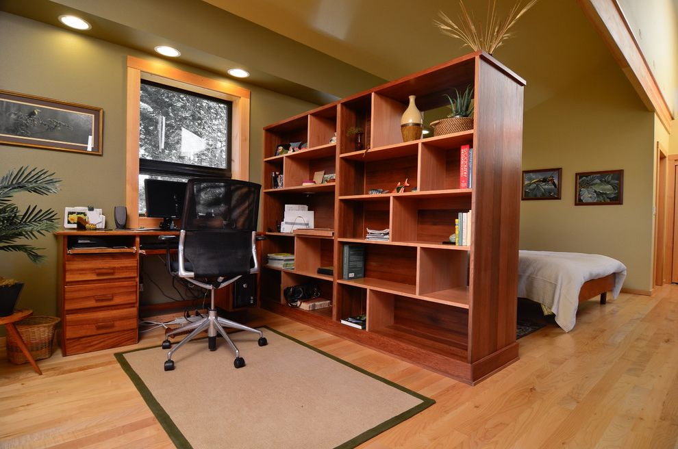 Rattan Bookshelf   Contemporary Home Office Also Area Rug Hardwood Flooring Light Wood Floors Medium Wood Bookcase Open Shelving Recessed Lighting Room Divider Sage Walls Sloped Ceiling Soffit Task Chair Wood Window Trim