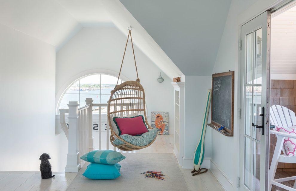 Rattan Bookshelf with Beach Style Kids Also Arch Window Beach Cottage Beach Home Beachfront Built in Built in Storage Coastal Coastal Cottage Coastal Decor Coastal Home Coastal Living Decor Hanging Chair Landing Nautical Nook