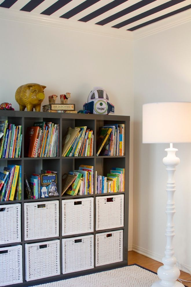 Rattan Bookshelf with Contemporary Kids Also Area Rug Blue and White Book Storage Boys Room Bungalow Cubby Wall Organizer Kids Bedroom Medium Wood Flooring Open Shelves Storage Striped Ceiling Stripes Toy Storage White Floor Lamp White Storage Baskets