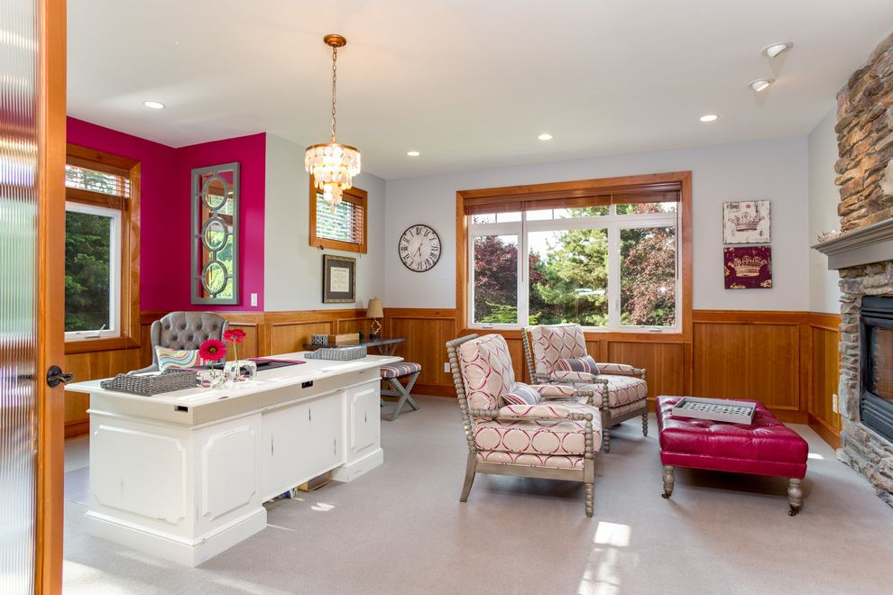 Real Estate Broker Charlotte Nc   Transitional Home Office  and Hot Pink Wall Patterned Armchair Pink Ottoman Sexy Office White Desk Wood Paneling Wood Wainscoting Wood Window Frame