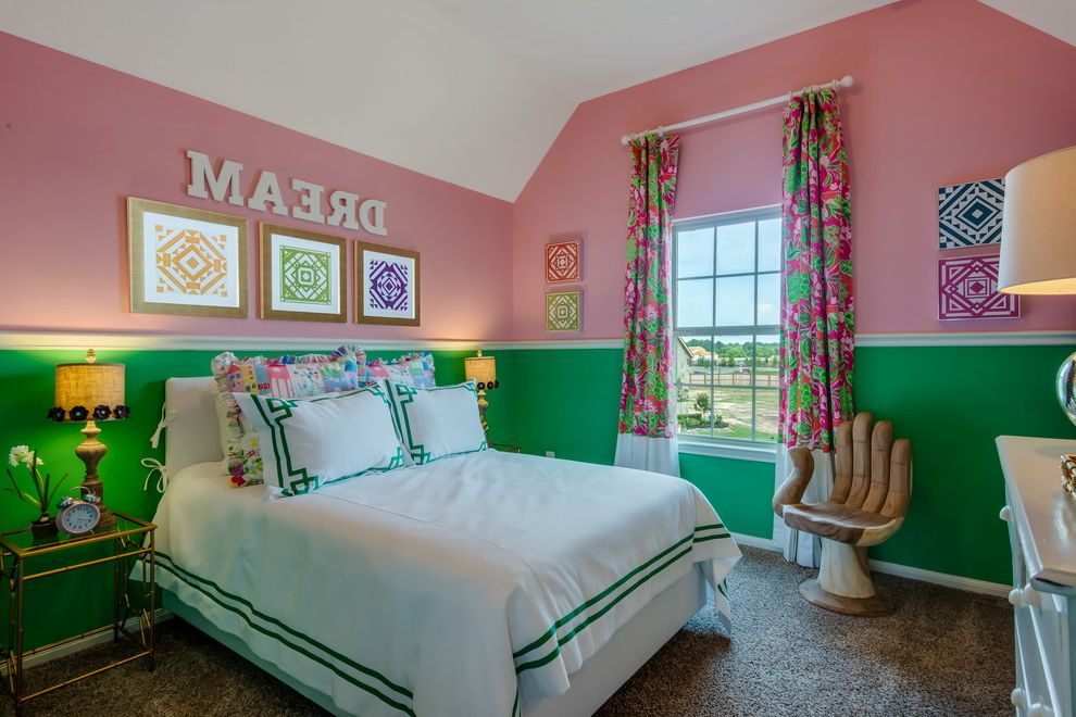 Real Estate Broker Charlotte Nc with Transitional Kids Also Eclectic Girls Bedroom Girly Gold Side Table Green and Pink Curtains Green and Pink Walls Lily Pulitzer Bedroom Pink and Green Bedroom Roman Pillow Symmetry Teens Bedroom