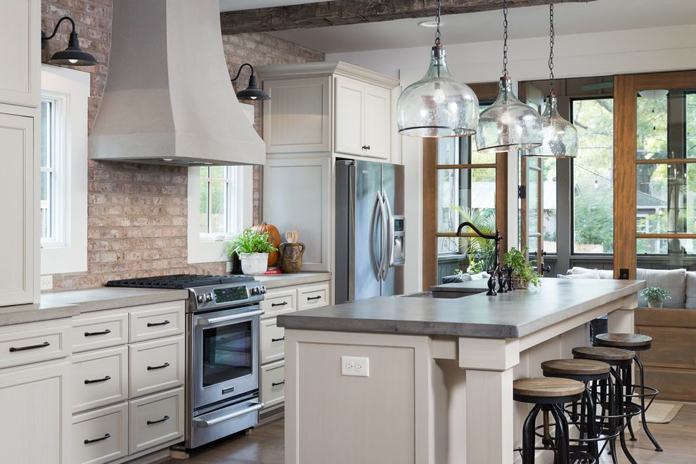 Realty South Birmingham   Traditional Kitchen  and Alabama Backless Counter Stools Birmingham Brick Wall Casual Elegance Glass Pendant Lights Vent Hood Willow Homes Windows Wood Beams