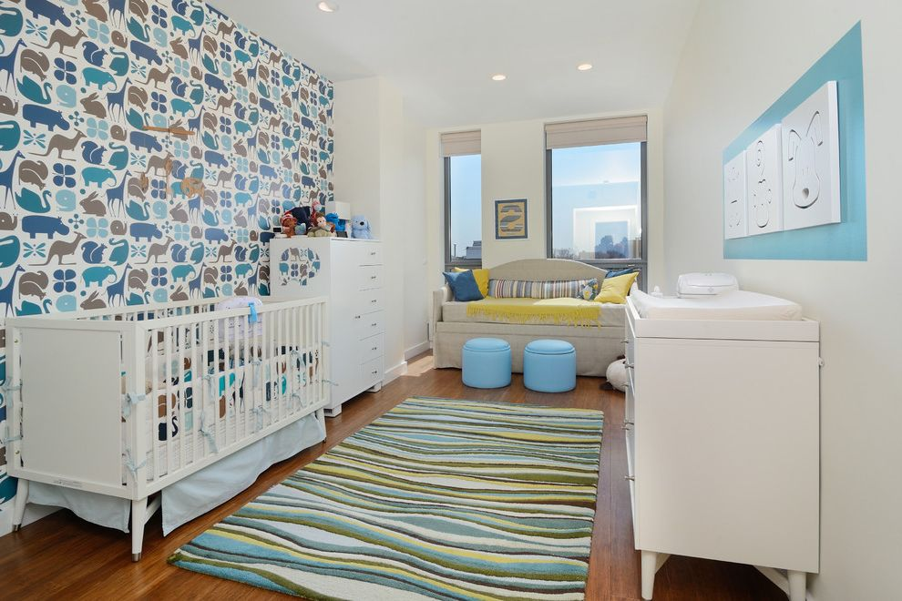 Realty South Birmingham with Contemporary Nursery  and Animal Wallpaper Blue Green and White Boys Nursery City View Contemporary Nursery Graphic Wallpaper White Nursery Furniture Wood Floor
