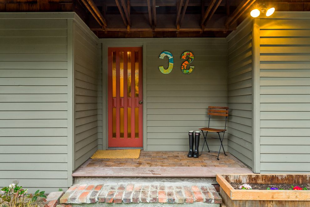 Realty South Birmingham with Rustic Porch Also Brick Brick Porch Cafe Chair Covered Entry Dark Porch Door Mat Gray Green Lap Siding Mud Boots Planter Box Red Entry Door Salvaged Wood Small Porch Ideas Wall Letters