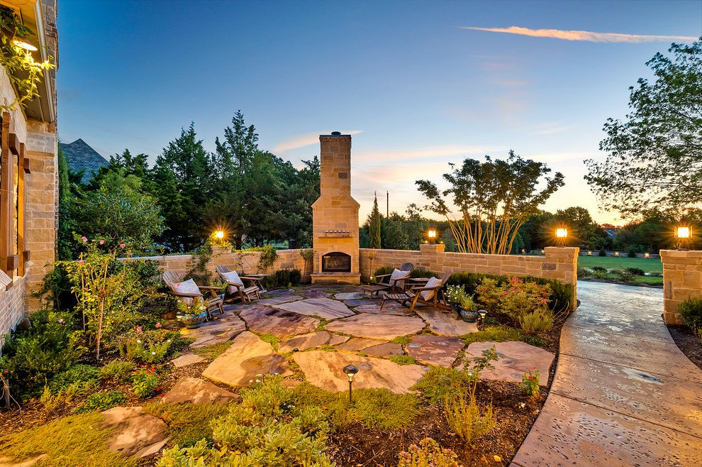 Realty South Birmingham with Traditional Patio Also Adirondack Chairs Night Lighting Outdoor Fireplace Outdoor Lighting Stone Patio Stone Wall