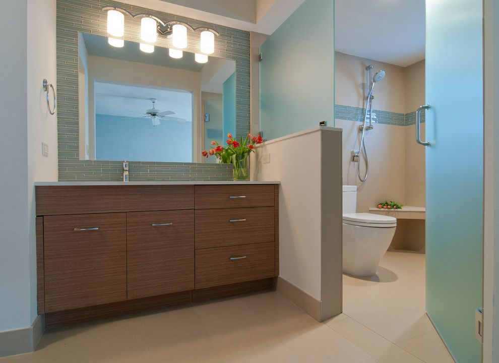 Rear Outlet Toilet   Contemporary Bathroom  and Ada Bathroom Aging in Place Compac Quartz Vanille Contemporary Frosted Glass Door Glass Border Red Flowers Sconce Subway Tile Teal Tile Floor Toilet in Shower Area Wood Cabinets