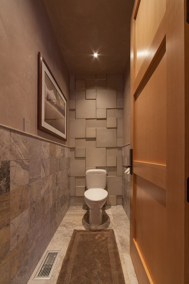 Rear Outlet Toilet   Rustic Powder Room Also Brown Bathmat Heavy Timber Mountain Mountain Contemporary Mountain Modern Ranch Rustic Slate Tile Wall Small Rug Textured Wall Tile Tile Floor Timber Timber and Steel Timber Frame Toilet Room