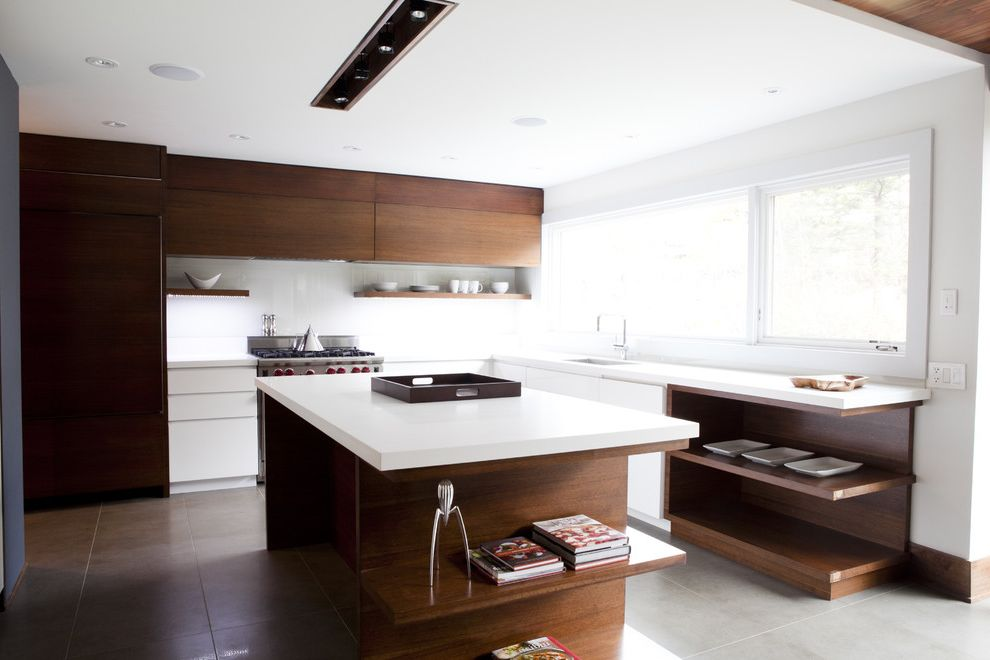 Recessed Light Speaker   Contemporary Kitchen  and Ceiling Lighting Flat Panel Cabinets Floating Shelves Kitchen Island Kitchen Shelves Minimal Recessed Lighting Two Tone Cabinets Wood Cabinets