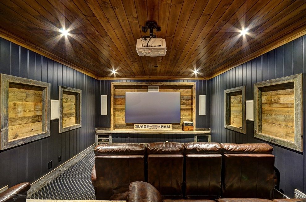 Recessed Light Speaker with Rustic Home Theater  and Leather Chairs Man Cave Projector Recessed Lighting Speakers Wood Ceilings