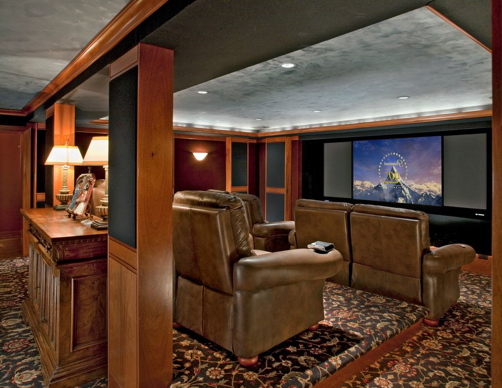 Recessed Light Speaker with Traditional Home Theater Also Big Screen Black Carpet Brown Leather Recliners Brown Recliners Floral Carpet Home Theater Movie Theater Patterned Carpet Recessed Lighting Speakers Table Lamps Textured Ceiling