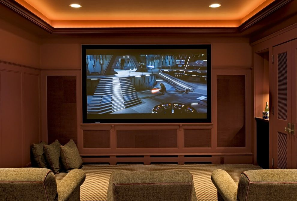 Recessed Light Speaker with Traditional Home Theater Also Built in Shelves Ceiling Lighting Chenille Armchair Cove Lighting Floor Cushions Recessed Lighting Tray Ceiling Wainscoting Wood Paneling
