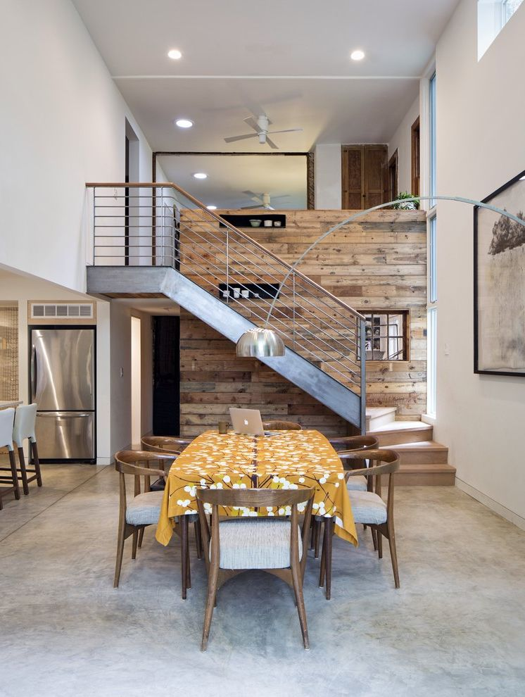 Reclaimed Wood Denver   Contemporary Dining Room  and Addition Arc Lamp Clerestory Windows Loft Modern Modern Kit Reclaimed Wood Renovation Sustainable