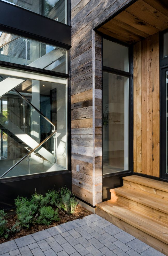 Reclaimed Wood Denver   Contemporary Entry  and Entryway Glass Staircase Glass Stairwell Knotty Siding Large Windows Path Rustic Modern Stairwell Walkway Wood Steps