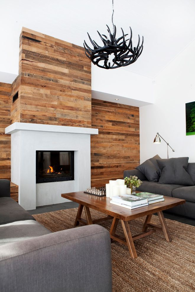 Reclaimed Wood Denver   Contemporary Living Room  and Antler Deer Light Contemporary Living Room Fireplace Mantels Gray Sofa Living Space Organic Timber Feature Wall Wood Burning Fireplace