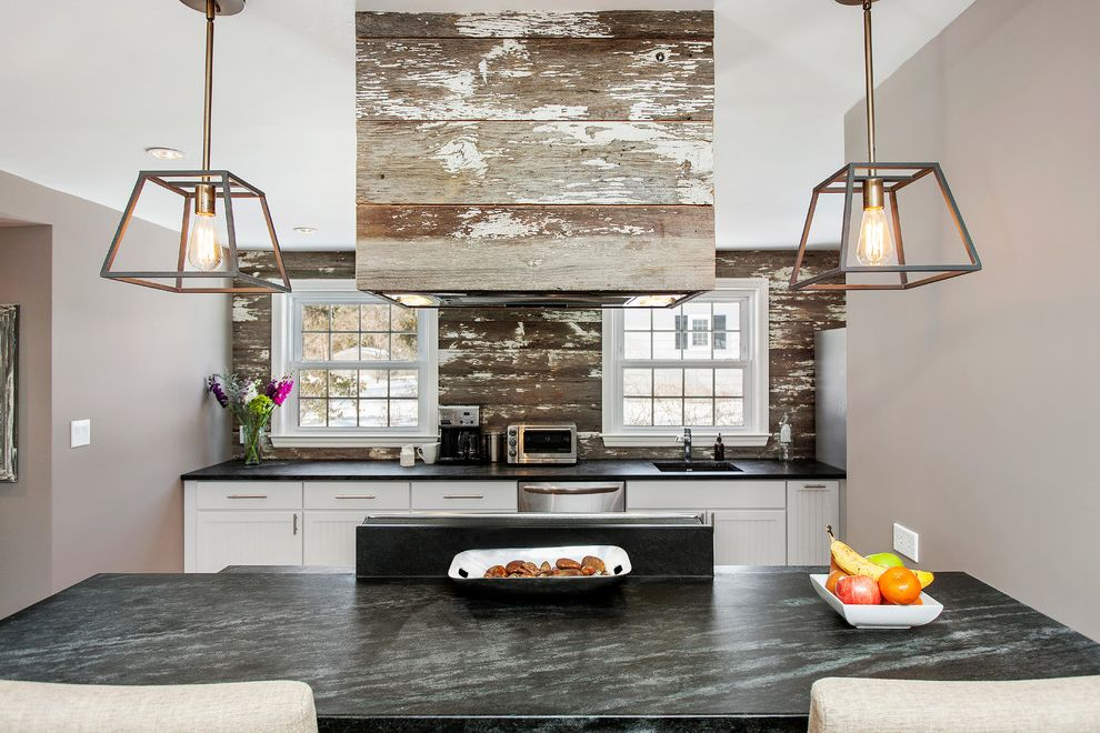 Reclaimed Wood Denver   Rustic Kitchen  and Distressed Pendant Lights Reclaimed Wood Soapstone Countertops Vent Hood Windows