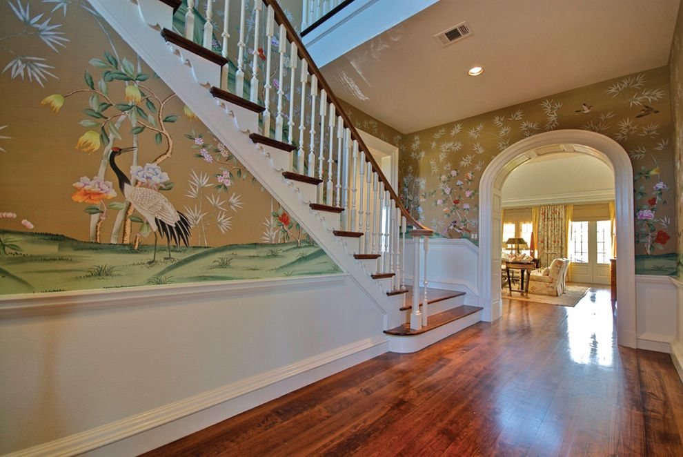Reclaimed Wood Fort Worth with Traditional Staircase  and Archway Banister Baseboards Ceiling Lighting Chinoisere Handrail Recessed Lighting Wainscoting Wall Art Wall Mural White Wood Wood Flooring Wood Molding Wood Railing Wooden Staircase