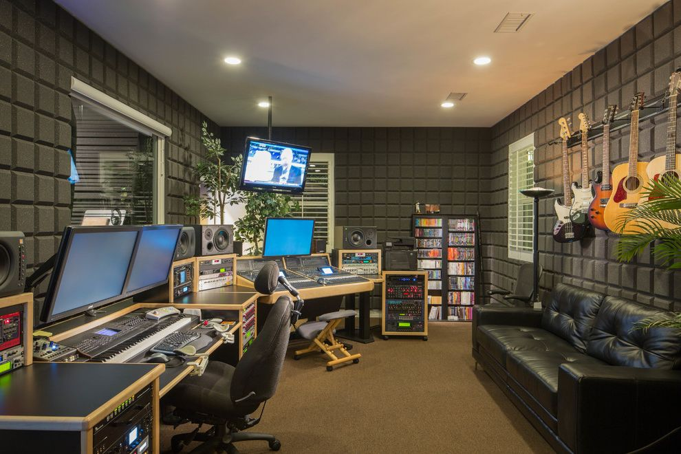Recording Studio Sacramento with Contemporary Home Office Also Black Sofa Brown Carpet Guitar Rack Interior Window Music Equipment Recessed Lighting Recording Studio Soundproof Speakers White Ceiling