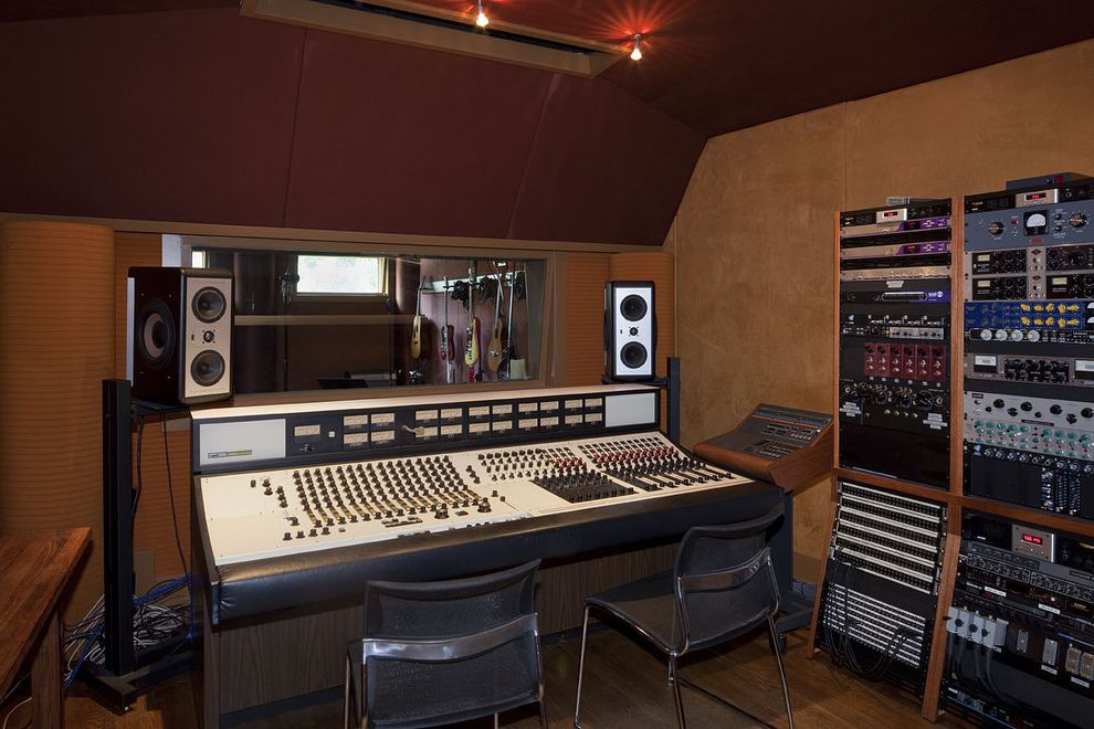 Recording Studio Sacramento with Eclectic Home Theater  and Recording Studio Red Upholstered Walls