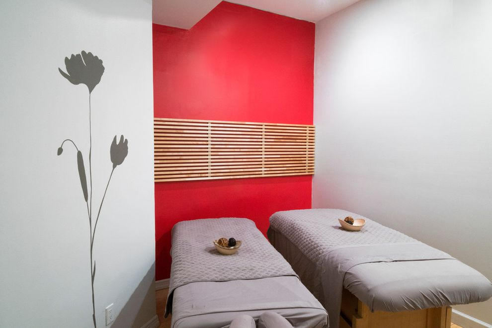 Red and White Spa   Modern Spaces Also Asian Inspired Decorative Mural Flowers Hand Painted Spa Trees