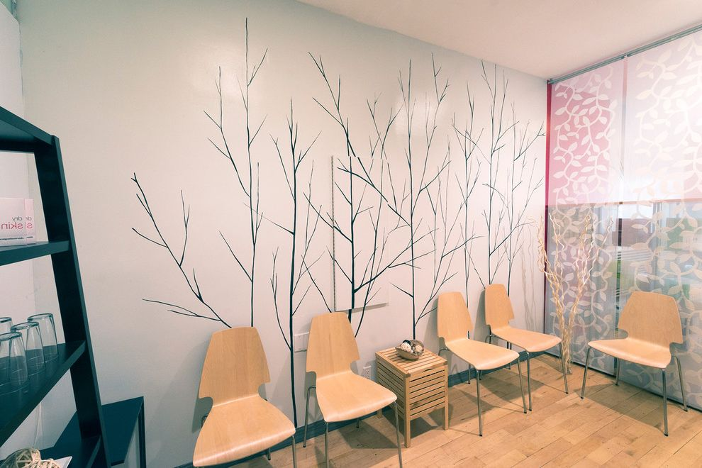 Red and White Spa   Modern Spaces  and Asian Inspired Decorative Mural Flowers Hand Painted Spa Trees