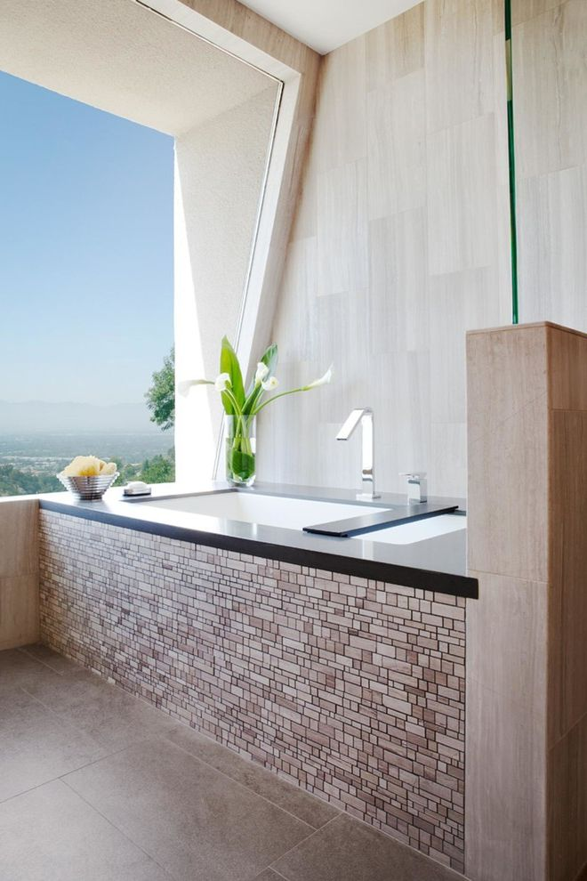 Red and White Spa with Contemporary Bathroom  and Flowers Ledge Neutral Relaxing Spa View Window