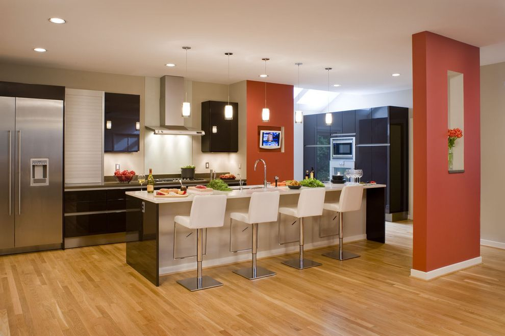 Red Bar Stools Target   Contemporary Kitchen Also Accent Wall Barstool Black Cabinet Doors Breakfast Bar Divider Glossy Cabinets Kitchen Island Kitchen Island with Sink Modern Barstool Orange Paint Orange Wall Pendant Light White Barstool Wood Floor