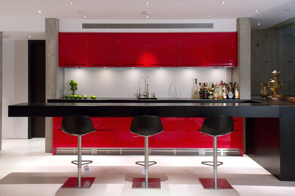 Red Bar Stools Target with Contemporary Home Bar  and Black Counters Chrome Concrete Walls Glossy Leather Bar Stools Long Bar Modern Bar Stools Modern Hardware Red Lacquer Cabinets Undercabinet Lighting Wet Bar White Floor