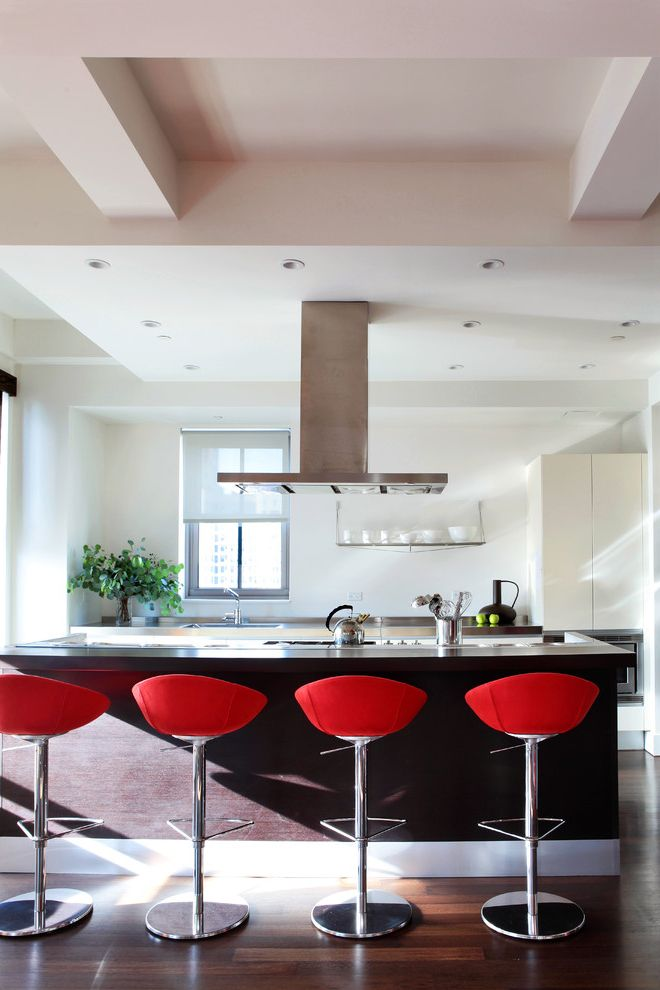 Red Bar Stools Target with Modern Kitchen Also Ceiling Beams Dark Wood Floor Kettle Kitchen Bar Kitchen Island Open Shelving Range Hood Recessed Lighting Red Barstool Stainless Steel Hood White Baseboard